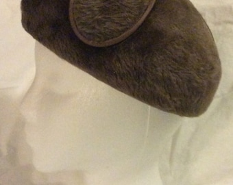 Vintage Hat by Empress Made in West Germany Brown Faux Fur Sold in Hahnes Dept Stores