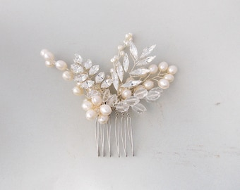 Bridal Hair Comb, Pearl Hair Comb, Wedding Hair Comb, Ivory Pearl, Crystal Hair Comb, Swarovski Crystal, Bridal Headpiece, Wedding Headpiece