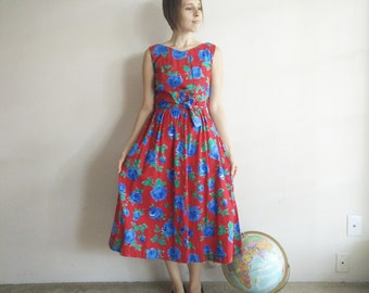 Vintage LANZ Red Roses Dress/80s Does 50s/Lanz Dress/Large