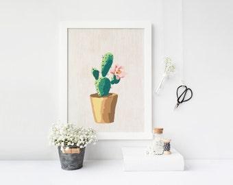 sale cactus art print, printable cactus, printable art, cactus print, succulent print, wall art printable, watercolor print, botanical print