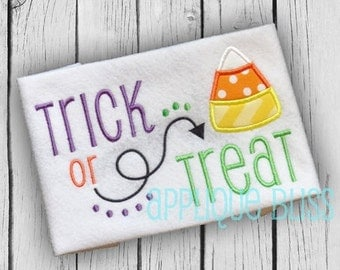 Trick or Treat Halloween Applique Design - Halloween Embroidery Design - Halloween Applique - Pumpkin Applique - Candy Corn