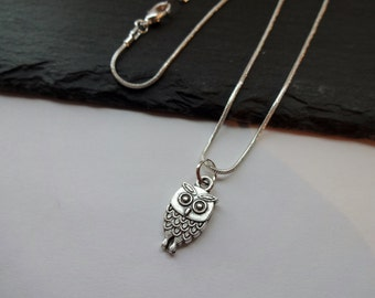 Owl Necklace, Silver Charm Necklace, Silver Plated Chain