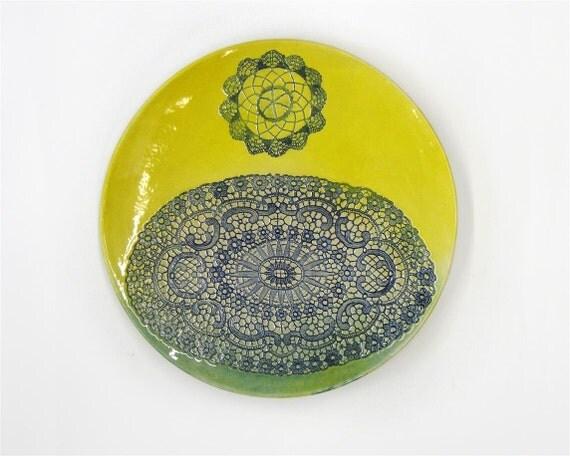 Gelb blau kunst keramik teller modern wand teller von ceralonata - Wandteller modern ...