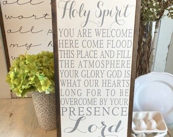 HOLY SPIRIT You Are Welcome Here | framed wood sign | 13 x 26