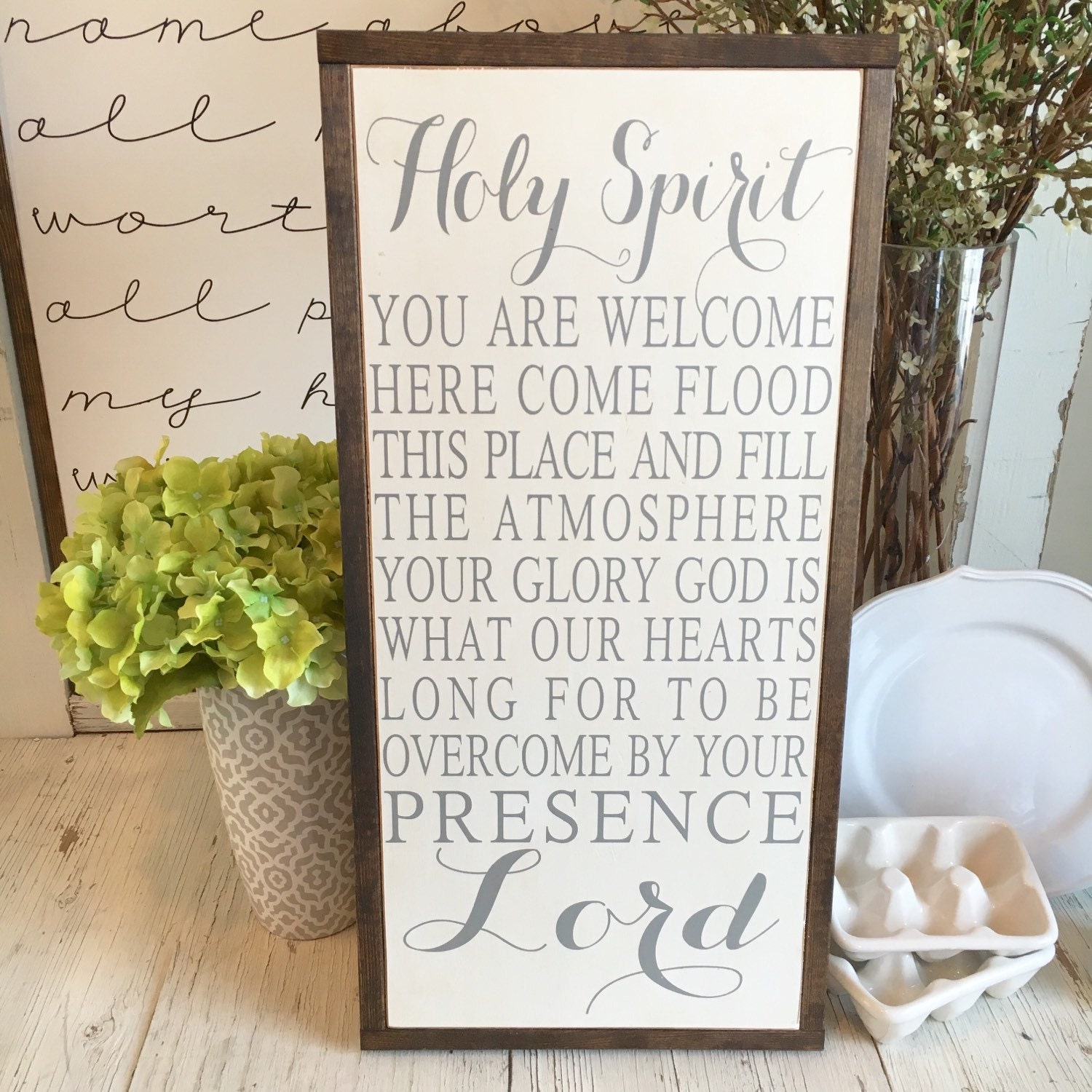 HOLY SPIRIT You Are Wel e Here framed wood sign 13 x 26