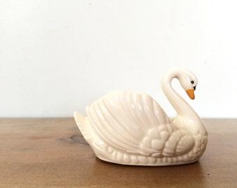 Vintage Porcelain Swan Dish Figurine