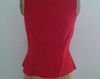 Vintage 1960's Ilene Ricky Red Velvet Sleeveless Top Tailored Button Details Sz Small Gidget Mad Men