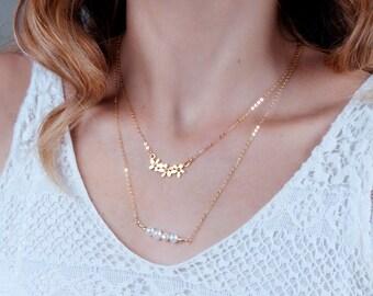 Delicate Necklace, Gold Flower Necklace, Bride Necklace, Gold Necklace, Bridesmaid Gift, Flower Necklace, Layered Necklace, Dainty Necklace