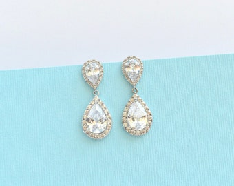 Bridal Wedding Earrings Cubic Zirconia Teardrop Earrings Bridal Crystal CZ Earrings Bridal Jewelry