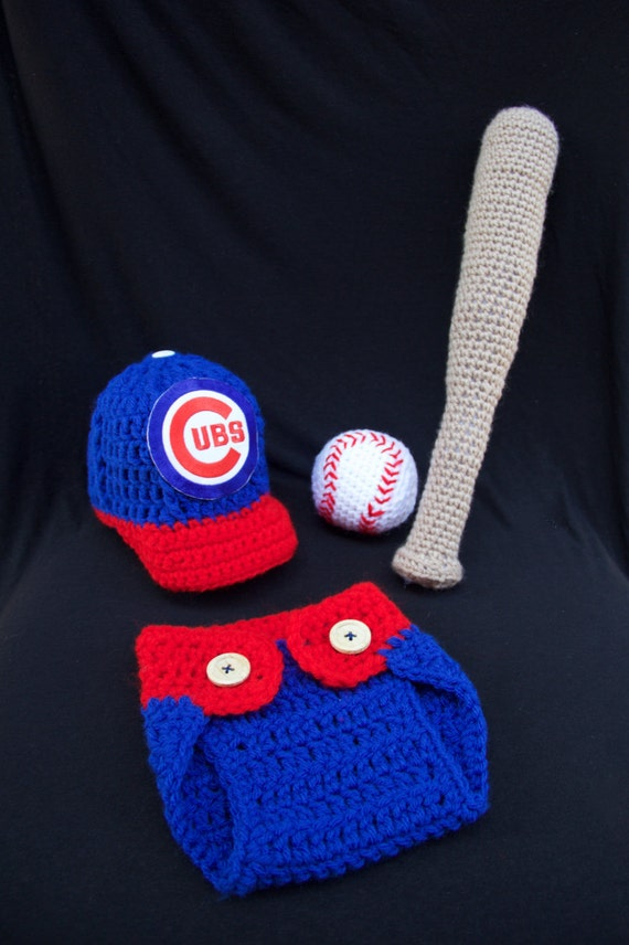 Crochet Chicago Cubs Baby Photo Prop Newborn Outfit Crochet