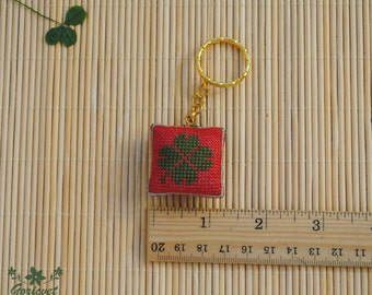 Good luck gift mini keychain green clover lucky clover keychain for her four leaf clover embroidered gift for him best friend keychain gift