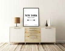 NEW YORK PRINT. New York, New York. New York Art. City Coordinates. Typography Print. Printable Quotes. Printable Art. Minimalist Poster.