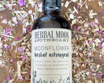 MOONFLOWER organic astringent • herbal toner for face • gentle, all natural • good for all skin types •  vegan friendly, cruelty free • 4oz