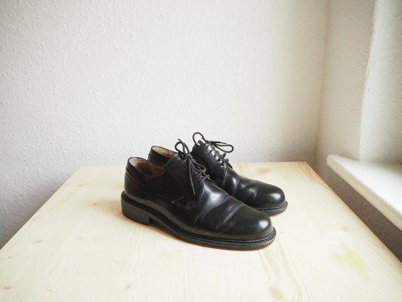 80s black leather oxford dress shoes made in germany in. Black Bedroom Furniture Sets. Home Design Ideas