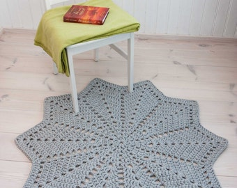 Grey star shaped doily rug 46'' / 117 cm - handmade rug - cotton rug - crochet carpet - lace rug - floor mat - round ripple - home decor