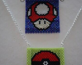 Beaded necklace pendant, Mario Mushroom, Pokémon Pokéball, pixel art