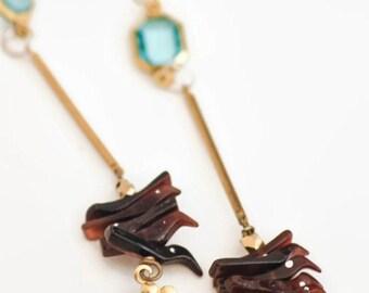 Boho Long Drop Earrings Hand Carved Birds Aqua Faceted Glass Brass Flower Charm Long Drop Modern Garden