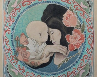 Mother and Baby Art Nouveau Inspired Portrait