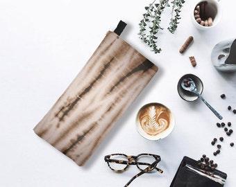 Coffee Brown Shibori Modern Graphic Japanese Tie Dye Pencil case Cosmetic Case Makeup Bag Festival Purse Hippie Bag