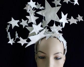 Bright Star Headdress -  Patent White Leather Star Burlesque Headdress. To Order