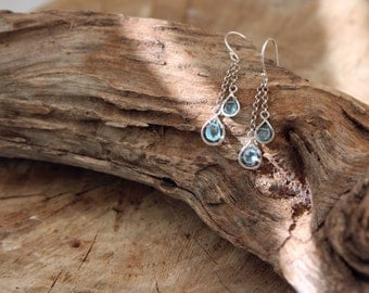 Apatite earrings - Blue gemstone earrings - Pastel Earrings - Drop Earrings