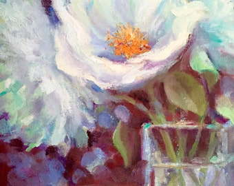"Flower Oil Painting, Peony Painting, White Spring Floral, Unframed 8 x 10"" Original Oil Painting, by Tina Wassel Keck, Oil Canvas on Panel"