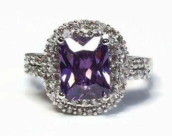 10K GF White Gold CZ Cocktail Ring in Prong Set Amethyst & Diamond Setting - Vintage 80's Cubic Zirconia New Old Stock Costume Jewelry