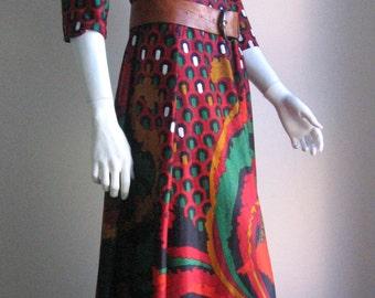 70s vtg op art boho long dress small