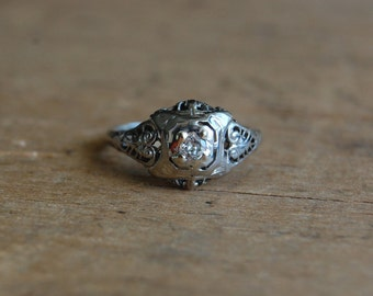 Art Deco 18K diamond engagement ring ∙ 18K filigree diamond ring