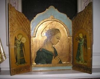 "Divine Antique 27""x21"" Italian Florentine Praying Virgin Mary/Madonna Triptych Wall Art Religious Devotional Home Altar Icon."