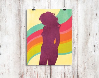 Retro, boho nude silhouette, feature wall art, modern home decor, colourful, sensual art, feminine 8x10 inch 'I'll follow the sun'
