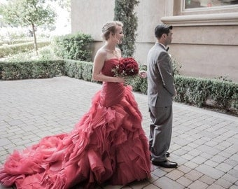 Red Wedding Dress Sweetheart Neckline Pleated Organza Asymmetrical