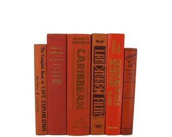 Orange Decorative Books, Vintage Wedding Decor , Vintage Book Decor , Home Decor , Photo Prop , Bookshelf Decor