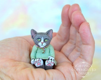 Cat Art Doll, OOAK Original Gray and White Kitten, Miniature Hand Painted Folk Art Figurine Sculpture, Louellen by Max Bailey