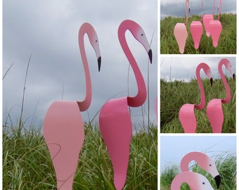 SET of 2 PINK Flamingo Swirling Birds. A special offer! Whimsical garden art. They swirl and bob up and down with the slightest breeze.