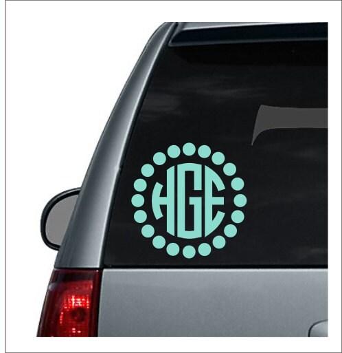 Large Dot Circle Monogram Car Monogram Decal Car Decal For Woman - Monogram decal for car