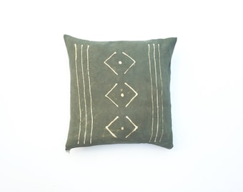 Olive Green Pillow Cover Tribal Pattern Hand Dyed Olive Green Throw Pillow Decorative Throw Pillow Cover 18 x 18 Cushion Cover Geometric