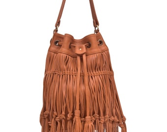 ANGEL FEATHER. Fringe leather bag / fringe purse / tan leather bag/ fringe leather purse / boho style. Available in different leather colors
