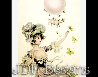 Instant Digital Download, Vintage Edwardian Graphic, When Pigs Fly, Irish Lass, Balloon Shamrock Printable Image, Scrapbook, St Patricks Day