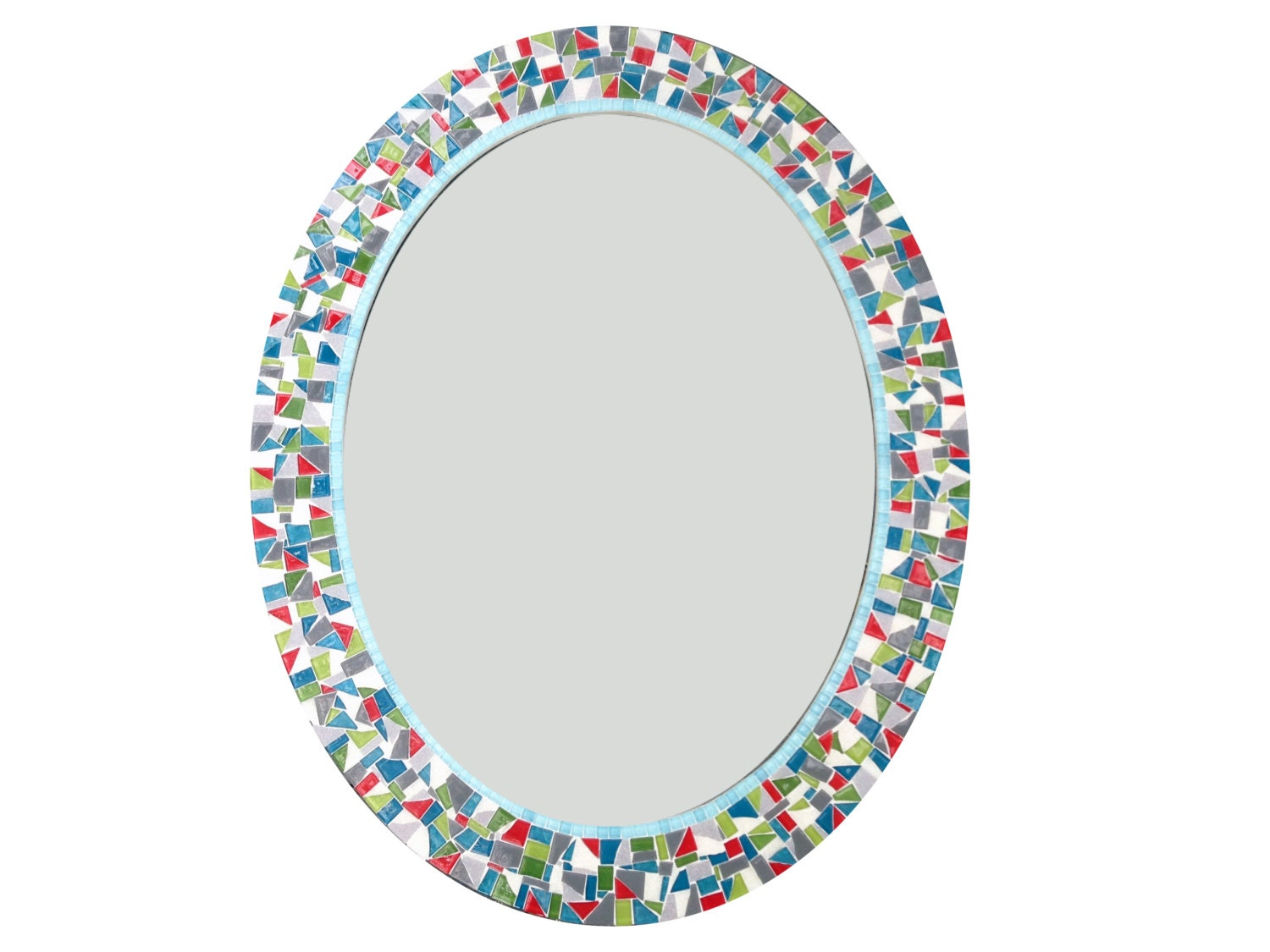 Colorful Oval Mosaic Wall Mirror / Teal Green White Red
