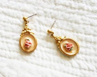 Vintage Cottage Home Pink Blush and Celadon Green Rose Dangle Earrings, Olives and Doves