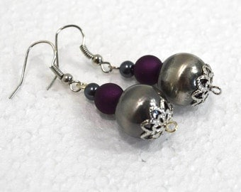 Silver Ball Earrings: Gothic Earrings with Silver and Purple Accents, Nickle-Free Earwires, Handmade in the USA, Ready to Ship
