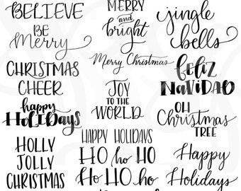 Hand Lettered Christmas Holiday Sayings Clip Art Modern Calligraphy Style