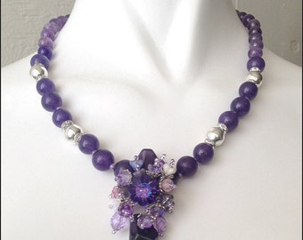 Dream Spring Amethyst Necklace, Semi Precious Amethyst Stone Necklace, AAA quality Amethyst,Woven Necklace,Nature Inspired, Love jewelry