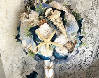 Beach Wedding Bouquet Beach Wedding Flowers Blue/White Beach Flower Bouquet-Beach Flowers-Nautical Seashell Wedding-Beach Bridal Flowers