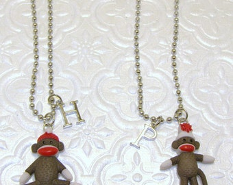 Sock Monkey Necklace With Initials,Monkey Necklace,Monkey Jewelry,Initial Necklace,Childs Jewelry,Childs Necklace,Kids Necklace,Kids Jewelry