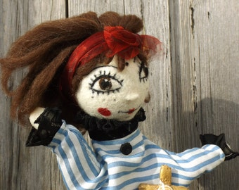 Personalized pirate hand puppet, customized art doll puppet, storytelling techniques toy, animation glove puppet, handmade Birthday gift,