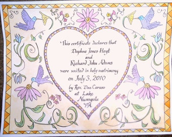 Fraktur Personalized Marriage Certificate