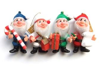 Santa's Helpers Ornaments, Elf Ornaments, Flocked Christmas Ornaments