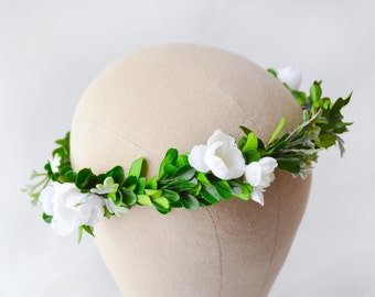 green floral crown, bridal crown, green bridal wreath, green flower crown, green wedding wreath, boho hair wreath, leaf crown - ANTHEA